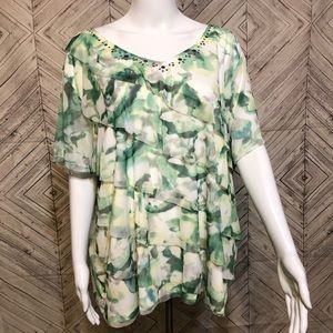 Alfred Dunner 2X green tiered short sleeve blouse